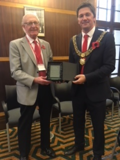 Bill receiving a civic award from the Mayor of Derby